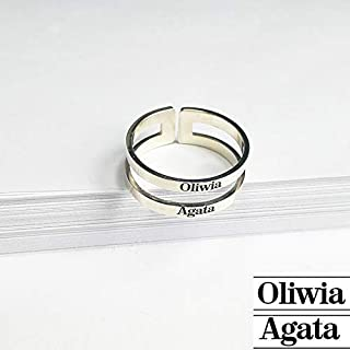 Custom Personalized Couple's Rings Custom-made lovers ring Lover's Names Sterling Silver or White Gold or Gold Plated Ring Engraved Personalized Jewelry Anniversary Christmas Birthday Mothers Mom Day Gifts