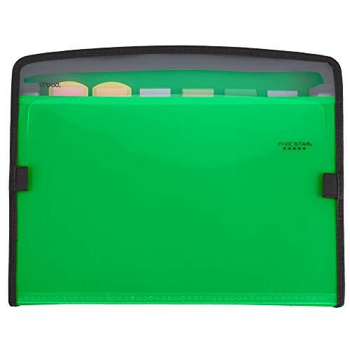 Five Star Expanding File, 7-Pocket Expandable Filing Folder, Zipper Closure, Customizable, Tabbed, Tabs, Green (72707)