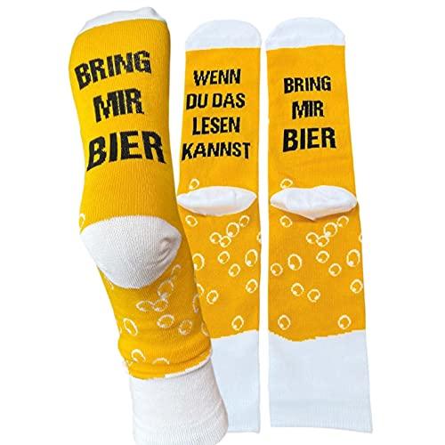Lustige Bier Socke in gelber Spardose Größe 42-46, Farbe gelb