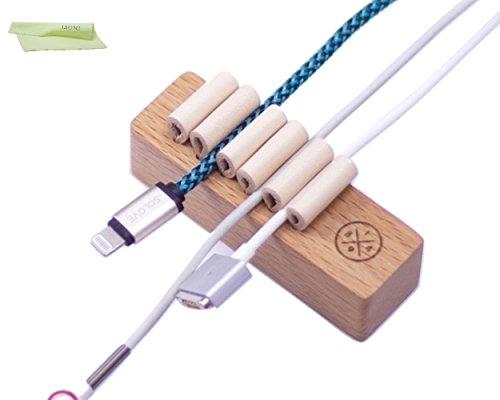 木製 コード ケーブル まとめる 収納 ホルダー IZUMIオリジナルお手入れ用ウエス セット (ブラウン)