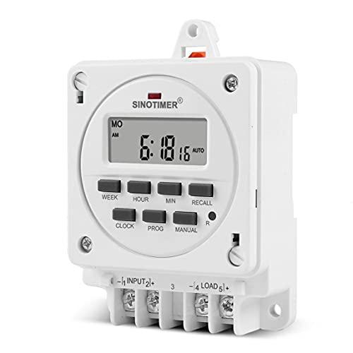 Tree-es-Life Serie TM618E con Base de Montaje Interruptor Temporizador controlado por Tiempo Sin Piezas Sueltas Batería incorporada Interruptor 40HMA Blanco TM618E-4