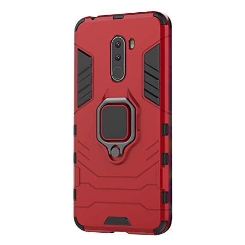 Funda Xiaomi Pocophone F1 Carcasa, Borde de Silicona Negro Duro PC Case Anti-Arañazos, Anti-Golpes, con Anillo Grip Kickstand para Xiaomi F1 2018