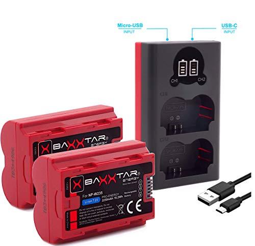Baxxtar PRO 2X Ersatz für Akku Fuji Fujifilm NP-W235 (echte 2250mAh) mit Infochip - Mini 18882 USB Dual LCD Ladegerät - für X-T4