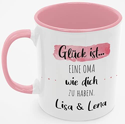 Personalisierte Kaffee-Tasse (Glück ist...) mit eigenen Wunschname. Für die beste Oma der Welt. Schönes Geschenk oder kleine Aufmerksamkeit | Muttertag, Hochzeit (Beste Oma #2, Rosa/Rosa)