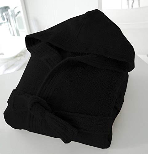 Casabella – Albornoz de tejido de rizo con capucha unisex (100 % algodón, 500 g/m²), algodón, negro, L/XL