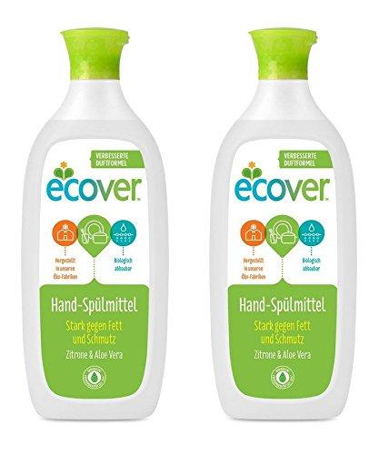 Ecover Hand-Spülmittel Zitrone & Aloe Vera, Ökologische Premiumqualität seit 1979, 2 x 500ml