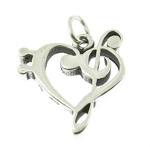 925 Sterling Silver Treble Bass Clef Heart Charm Music Pendant Bracelet Jewelry - Charm Crazy