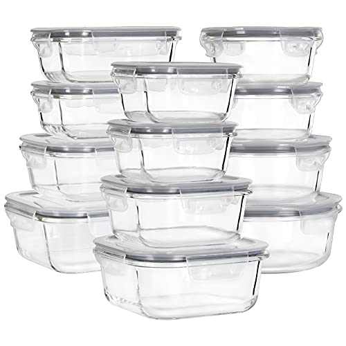 MUMUTOR Glass Food Storage Containers with Lids, [24 Piece] Glass Meal Prep Containers, Airtight Glass Bento Boxes, BPA Free & Leak Proof (12 lids & 12 Containers)