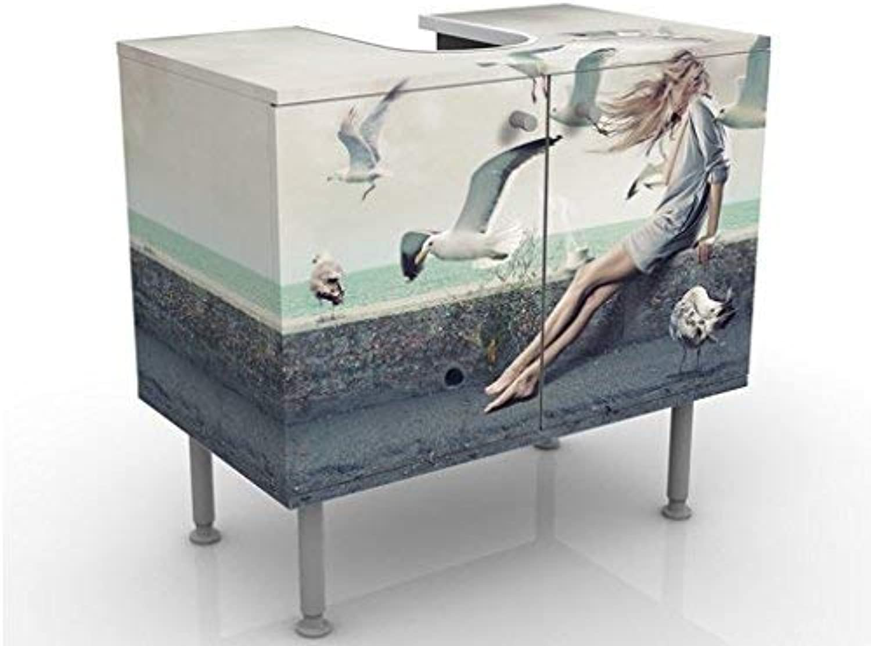 Apalis 58867 Waschbeckenunterschrank Kaffee am Meer, 60 x 55 x 35 cm