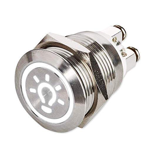 LED Drucktaster Ø 19 mm - 230 V - flacher Edelstahl-Taster beleuchtetes Licht-Symbol - Schraubkontakte - AC/DC (Weiß)