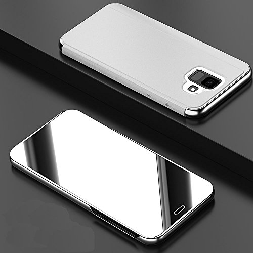 Sycode Lusso Screen Protector Argento Slim Fit Transparente Standing View Specchio Wallet Portafoglio Custodia per Samsung Galaxy J6 Plus 2108-Argento