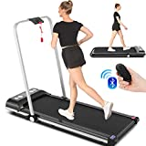 SYTIRY 2 in 1 Home Treadmill, 2HP Under Desk Treadmill, Installation-Free with Bluetooth Speaker, Remote Control and LED Display, Suitable for Home