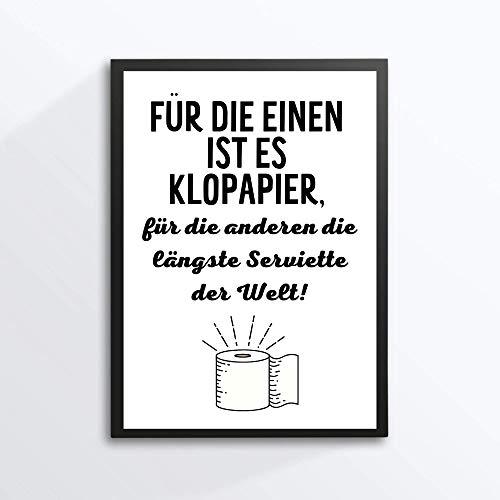 Kunstdruck Din A4 - Lustiger Spruch - Längste Serviette - Klopapier Rolle Badezimmer Gäste WC Toilette Klo Druck Poster Bild - ohne Rahmen