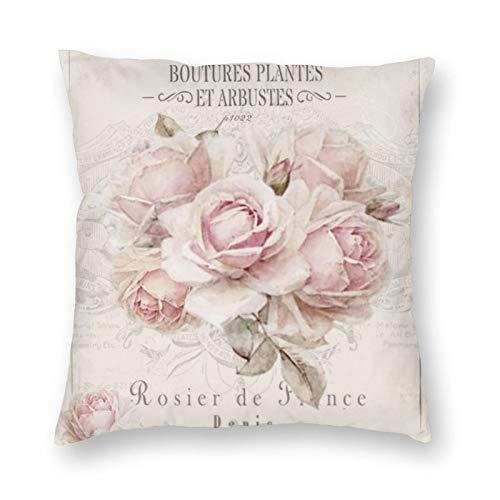 niBBuns Dekorativer Kissenbezug im Shabby-Chic-Stil, rosa Rosen, quadratisch, Standard-Kissenbezug für Männer und Frauen, Heimdekoration, 45,7 x 45,7 cm