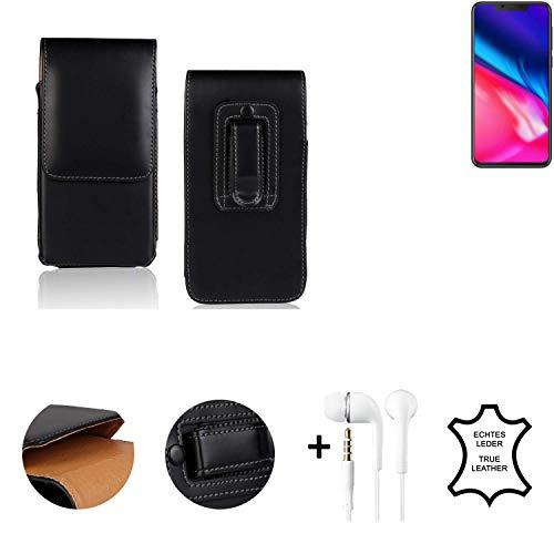 K-S-Trade® Leder Gürtel Tasche + Kopfhörer Für Cubot P201 Seitentasche Belt Pouch Handy-Hülle Gürteltasche Schutz-Hülle Etui Schwarz 1x