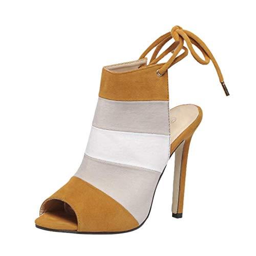 Giow ??Sandalias sexys de Verano para Mujer, Bombas de Estilete, Vendaje, Slingback, Punta Abierta, Tacones Altos, Zapatos de Vestir de Ancho Ancho (Color: marrón, Talla: 4 UK)