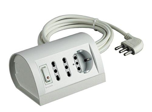 BTicino S3711DB Multipresa da Scrivania/Tavolo con Interruttore Luminoso, 3500 W, 250 V, Bianco