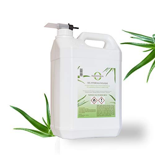 Gel hydroalcoolique à l'Aloe Vera et aux 3 Huiles Essentielles   70% d'alcool Norme EN14476   Bidon de 5 L avec Robinet   Made in France