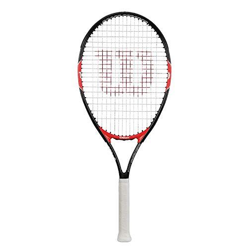 WILSON Roger Federer 26, WRT200900 Racchetta da Tennis per Ragazzi di Altezza Fino a 145 cm Unisex Bambini, Nero/Rosso