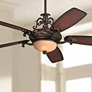 """56"""" Casa Esperanza Vintage Ceiling Fan with Light LED Remote Control Dimmable Antique Bronze Gold Shaded Teak Blades for House Bedroom Living Room Home Kitchen Dining Office - Casa Vieja"""