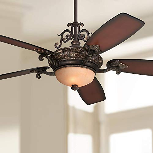 "56"" Casa Esperanza Vintage Ceiling Fan with Light LED Remote Control Dimmable Antique Bronze Gold Shaded Teak Blades for House Bedroom Living Room Home Kitchen Dining Office - Casa Vieja"