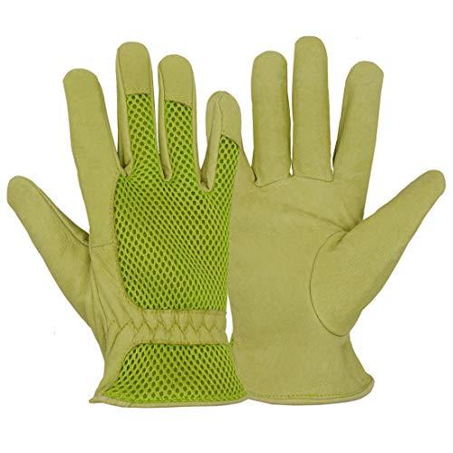 Schweinsleder-Handschuhe für Damen, dehnbar, strapazierfähig, 3D-Netzstoff, Bequeme Passform, Komfort und atmungsaktives Design für Rosengarten, grün