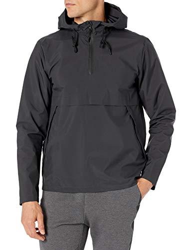 Amazon Brand - Peak Velocity Men's Windbreaker Anorak Jacket, Black Melange, Small