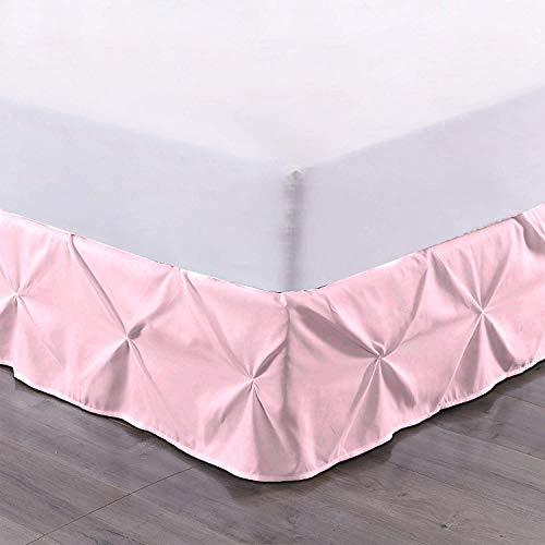 Bedding Castle Bettvolant, plissiert, Fadenzahl 800, solides Muster, 45,7 cm, lang, langlebig, bequem (California Kingsize: Baby Pink)