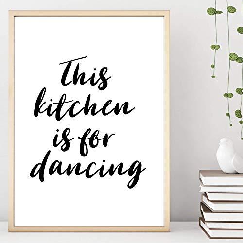Kunstdruck ungerahmt Din A4 This kitchen is for dancing - Diese Küche ist zum Tanzen da - Spruch Küche Typographie Motivation Druck Bild Poster