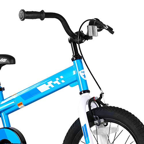 JOYSTAR 18 Inch Kids Bike with Training Wheels for Ages 6 7 8 9 Years Old Boys and Girls, Children Bicycle with Handbrake for Early Rider, Blue…