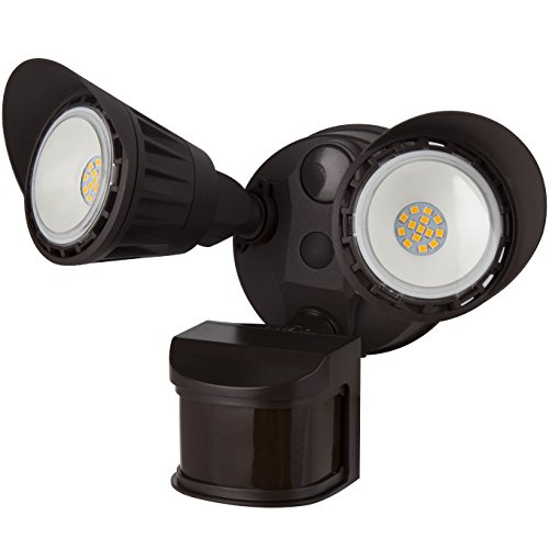 Sunlite 88917-SU LED Dual Head Outdoor Security Light with Motion Sensor and Photocell, Brown, Super White, 1800 Lumen