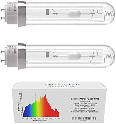 iGrowtek 2 Pack CMH 315W 4200K Grow Light Bulb CMH 315 Grow Bulb High Par Full Spectrum Ceramic product image