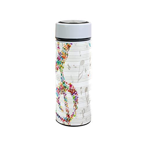 XiangHeFu Houdt koude of warme thermosfles-kunst-regenboog-muziek-noot-roestvrij staal-lekvrij in buitenwater-flessen-reisbeker