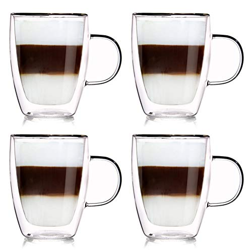 ORION GROUP Thermogläser 4 Stück Kaffeegläser Teeglas Kaffeeglas Doppelwandiges Doppelwandige Gläser Thermoglas für Kaffee Latte Cappuccino Tee 300 ml