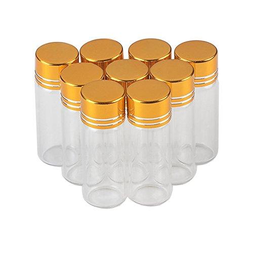 Jarvials 50 botellas de cristal transparente de 4 ml con tapa de aluminio, cubierta de aluminio dorada para mejorar la estanqueidad de la botella de vidrio (4 ml, dorado).
