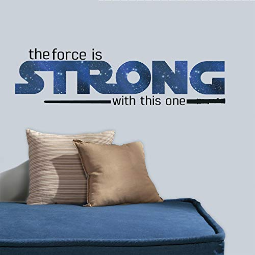 RoomMates Star Wars Classic The Force Is Strong Quote Peel and Stick Wall Decals , 35.25' x 10' - RMK3077SCS,Multi