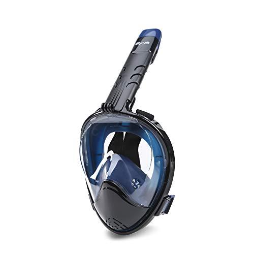 Glymnis Masque de Plongée Intégral avec Tuba Pliable Anti-buée, Anti-Fuite, Plein Visage 180° avec Support de Caméra pour Adultes et Jeunesse (L/XL, Bleu)