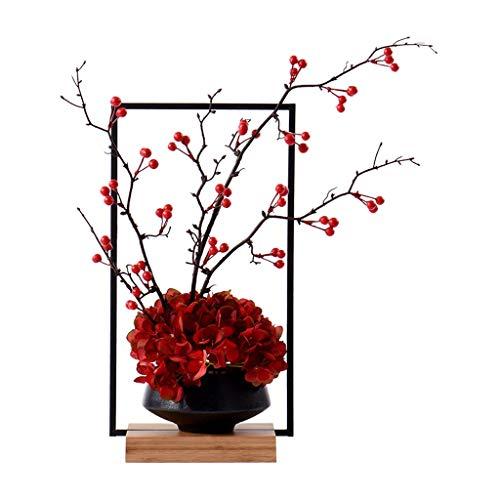 Flores Artificiales Zen chino flor de la simulación Planta de tiesto, Villa Hotel Inicio forjado flor de hierro puesto de flores y fruta de cerámica Bonsai, artificial Bonsai artificial flor artificia