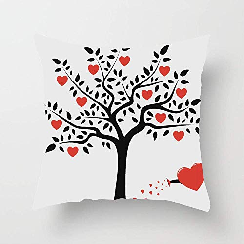 N\A Love Tree with Heart Romance Fruits Leaves Forest Couple Art Throw Pillow Cover Soft Cotton Cushion Cover for Couch Bedroom Car
