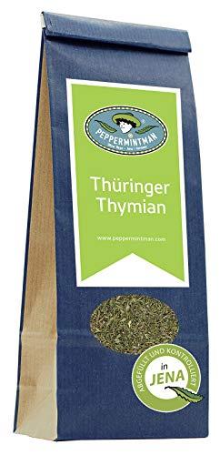 PEPPERMINTMAN Thüringer/Deutscher Thymian getrocknet – Gewürz aus kontrolliertem Anbau made in Germany – Sehr beliebt auch als Tee Thymiantee – 60g