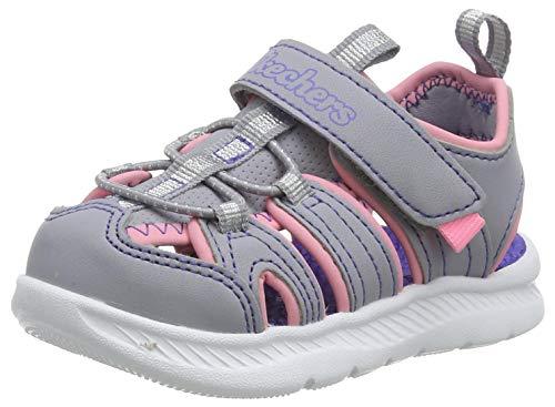 Skechers C-Flex Sandal 2.0, Sandalias de Gladiador Niñas, Gris (Gray PU/Hot Pink Trim Gypk), 25 EU