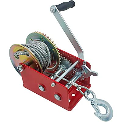 OPENROAD 2500lbs Hand Winch,RED Boat Trailer Winch with Hook,10M Steel Cable with Crank Handle 2 Gear Winch,Pulling Winch for ATV/UTV
