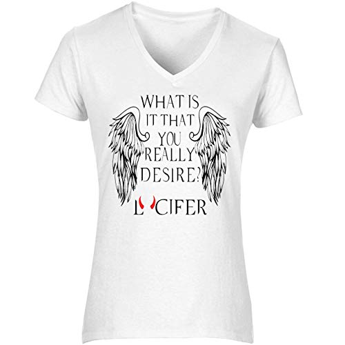 What is It That You Really Desire? Lucifer Women's T-Shirt V Neck Damen Tshirt Short Sleeve Medium