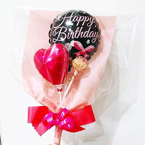 ミニメッセージバルーンブーケ Happy birthday-ribbon pink