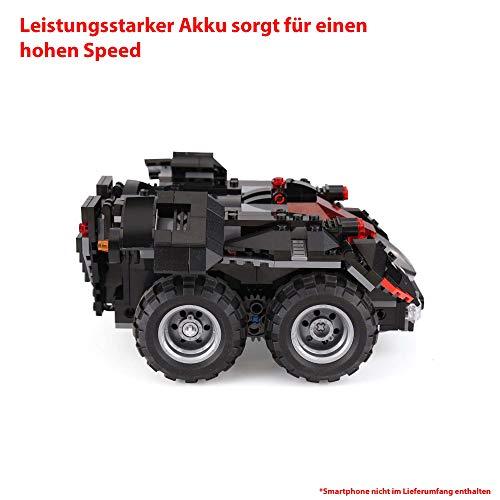 Himoto HSP RC ferngesteuertes Klemmbausteine Kampf-Fahrzeug aus Bausteinen mit zusätzlicher Steuerung per Smartphone über App, Modell mit integriertem Akku, Steckbausatz, Jeep, DIY Auto