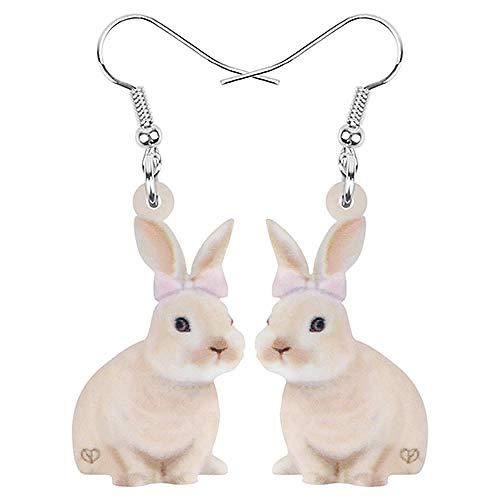 Acryl Brown Ostern Lächeln Hase Kaninchen Hase Haustier Ohrringe Tier baumeln Tropfen Schmuck für Frauen Kinder Geschenk Dekoration-EIN