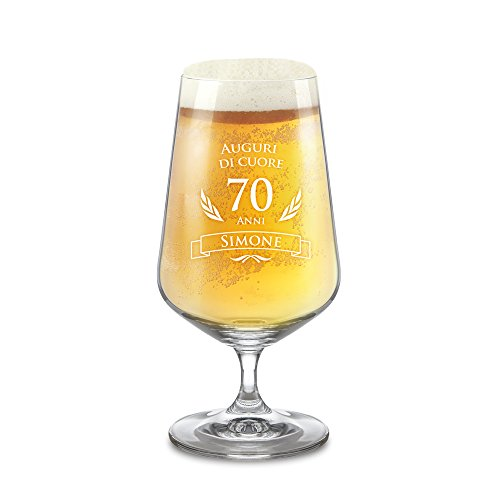 AMAVEL Bicchiere per Birra Chiara con Incisione, 70 Anni, Personalizzato con Nome, Calici a Tulipano in Vetro, Bicchieri Particolari, Idee Regalo Compleanno, 0,4l