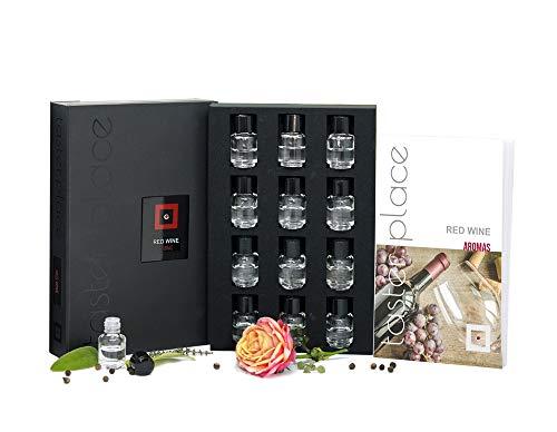 Aromas de vino tinto TASTERPLACE - Versión en inglés - kit de aromas para cata de vino - para sumilleres y aficionados - sommelier set