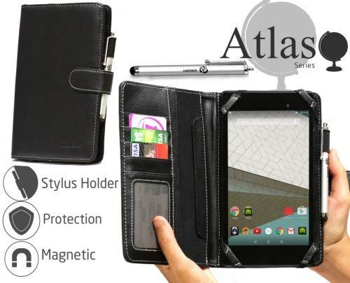 Navitech Schwarz 7 Zoll bycast Leder Folio Hülle/Cover/Hülle mit Stylus für das Huawei MediaPad X2 Tablet/Asus MeMO Pad 7 ME572C-1A018A / LG G Pad F 7.0 / Alcatel OneTouch Pixi 3