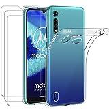 ivoler Hülle für Motorola Moto G8 Power Lite, mit 3 Stück Panzerglas Schutzfolie, Dünne Weiche TPU Silikon Transparent Stoßfest Schutzhülle Durchsichtige Handyhülle Kratzfest Hülle